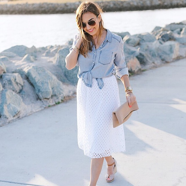 Eyelet skirt and tied chambray at LoveOliacom today link onhellip