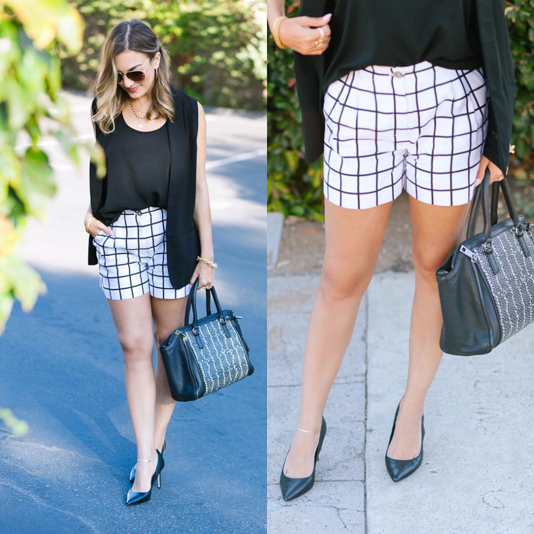 Grid shorts and a whiteblack look for yesterdays look LoveOliacom